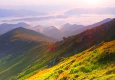 有雾的日出山全景 库存照片