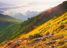 有雾的日出山全景 免版税库存图片