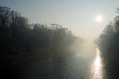 有雾的早晨公园 免版税图库摄影