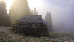 有雾的早晨山 库存图片