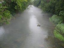 有雾的河在北卡罗来纳 免版税库存照片