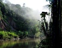 有雾的河日出 免版税库存照片