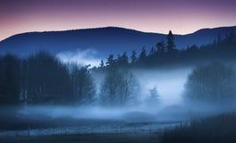 有雾的海岛日落 免版税库存图片
