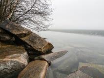 有雾的湖在日出 活动结果工厂可拉树冶金半岛俄国 图库摄影
