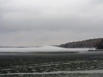 有雾的湖在日出 活动结果工厂可拉树冶金半岛俄国 库存图片