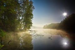 有雾的湖日出 免版税库存照片