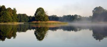 有雾的湖早晨v 免版税库存照片