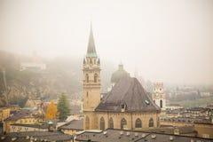 有雾的看法在Salsburg 库存图片