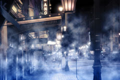有雾的街道场面 库存照片