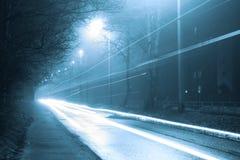 有雾的街道工业风景  免版税库存照片