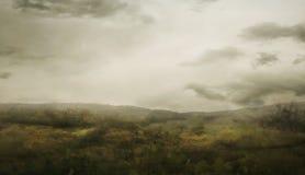 有雾的谷风景 免版税库存图片