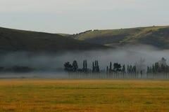 有雾的谷 库存照片