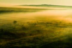 有雾的领域 库存照片