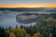 有雾的风景早晨 免版税库存图片