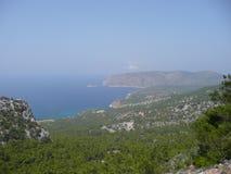 有雾的风景视图罗得岛海岛希腊 库存图片