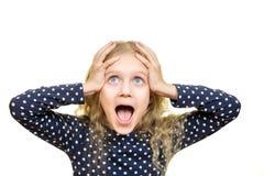有震惊表示的女孩 免版税图库摄影