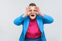 有震惊面孔的年迈的祖母 库存照片