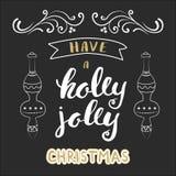 有霍莉快活的圣诞节字法 圣诞节手书法卡片 免版税库存照片