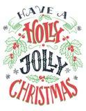 有霍莉快活的圣诞节手字法 图库摄影