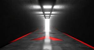 有霓虹箭头光的3D现实黑暗的科学幻想小说走廊回报 库存图片