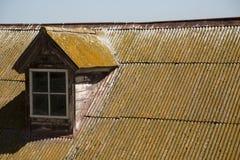 有青苔和铁锈清楚的天空的老波纹状的金属屋顶 库存图片