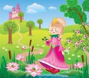 有青蛙的一位神仙的公主 库存照片