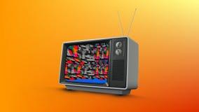 有静止的老电视 库存例证