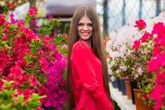 有非常长的头发的相当微笑的少妇在一件红色女衬衫 库存照片