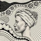 有非洲手凹道ethno样式的,部族背景非洲女孩 美丽的黑人妇女 配置文件视图 也corel凹道例证向量 图库摄影
