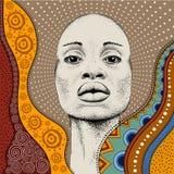 有非洲手凹道ethno样式的,部族背景非洲女孩 美丽的黑人妇女 配置文件视图 也corel凹道例证向量 库存照片
