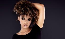 有非洲发型摆在的非裔美国人的妇女 库存图片