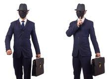有面具的在白色隔绝的人和公文包 免版税库存照片