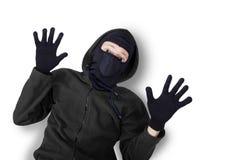 有面具被捉住的和投降的窃贼 库存图片