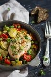 有面包屑和被烘烤的菜的鸡内圆角在葡萄酒scourage 库存图片