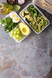 有面团和菜的素食膳食预习功课容器 库存图片