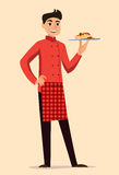 有面团的意大利厨师 免版税库存照片