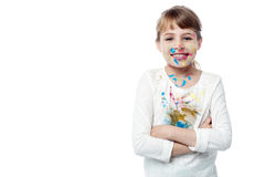 有面孔油漆的美丽的小女孩  库存图片
