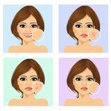 有面孔的问题和干净的皮肤的女孩 向量例证