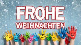 有面带笑容的被绘的儿童手与'圣诞快乐的消息用德语 向量例证