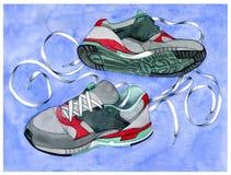 有鞋带的运动鞋 免版税库存照片