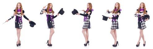 有鞭子的魔术师妇女在白色 免版税库存图片