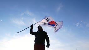 有韩国旗子的男性爱好者高兴并且支持运动员 股票录像