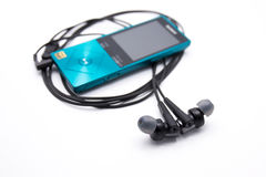 有音乐播放器的耳机 免版税图库摄影