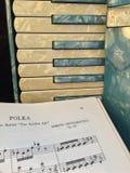 有音乐的2蓝色和白色真珠色的手风琴 库存照片