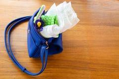 有项目的妇女的提包对孩子的关心:瓶牛奶,一次性尿布、吵闹声、安慰者和婴孩衣裳 库存图片