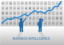 有预测性的逻辑分析方法例证 分析与各种各样的设备和数据项的商人正面图在后面 图库摄影
