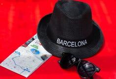有题字的巴塞罗那帽子 图库摄影