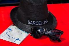 有题字的巴塞罗那帽子 免版税库存照片