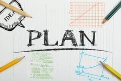 有题字计划的,企业概念纸笔记本 免版税图库摄影