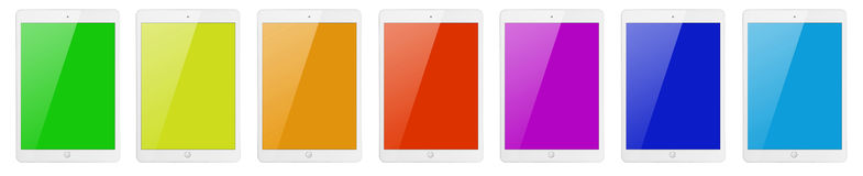 有颜色屏幕的七台片剂计算机 免版税库存照片
